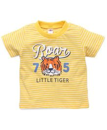 Zero Half Sleeves Stripe T-Shirt Roar Print - Yellow