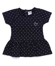 Simply Half Sleeves Frock All Over Dots Print - Dark Navy Blue