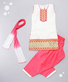 Babyhug Sleeveless Kurti And Salwaar With Dupatta Embroidered Design - Cream & Coral