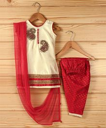 Babyhug Sleeveless Kurti And Salwaar With Dupatta Peacock Embroidered Design - Cream & Red