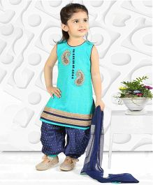 Babyhug Sleeveless Kurti And Salwaar With Dupatta Peacock Embroidered Design - Green & Navy Blue