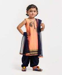 Babyhug Sleeveless Kurti And Salwaar With Dupatta Peacock Embroidered Design - Peach & Navy Blue