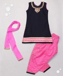 Babyhug Kurti And Salwaar Set With Dupatta Embellished Neckline - Navy & Pink