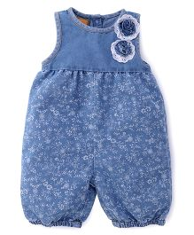 Little Kangaroos Sleeveless Jumpsuit Floral Design - Light Blue