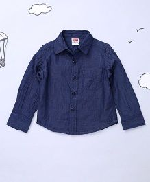 Hugsntugs Full Sleeves Solid Colour Denim Shirt - Dark Blue