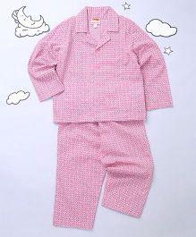 Hugsntugs Collar Nightsuit Set - Pink & White