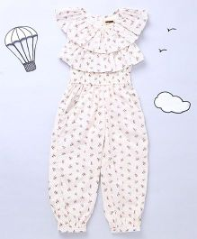 Hugsntugs Flutter Sleeves Full Length Jumpsuit Printed - White