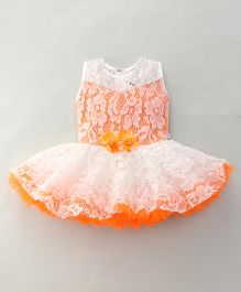 Kaia Fashion Party Wear Frill Frock -Orange