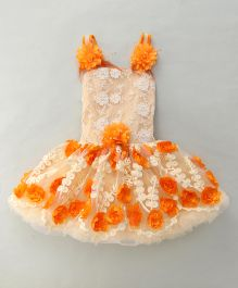 Kaia Fashion Floral Party Wear Synthetic Dress -Orange