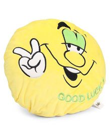 Starwalk Good Luck Face Plush Cushion Yellow - 35 cm