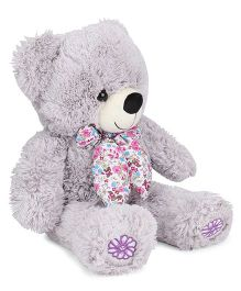 Starwalk Teddy Bear Soft Toy With Floral Printed Scarf Light Grey - Height 50 cm