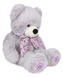 Starwalk Teddy Bear Soft Toy With Floral Printed Scarf Light Grey - Height 60 cm