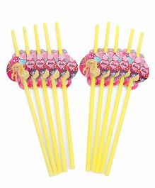 Barbie Straws Pack of 10 Yellow - 25 cm