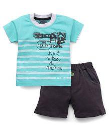 Mini Taurus Half Sleeves T-Shirt Printed And Shorts - Mint Dark Grey
