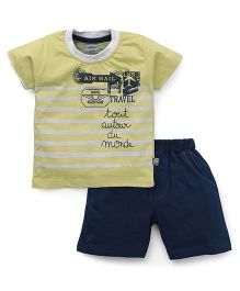 Mini Taurus Half Sleeves T-Shirt Printed And Shorts - Yellow Navy