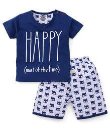 Mini Taurus Half Sleeves T-Shirt And Shorts Printed - Prussian Blue White