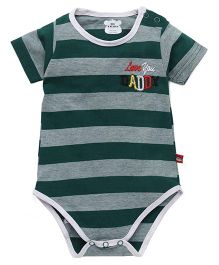 Mini Taurus Striped Onesies With Love You Daddy Embroidery - Green