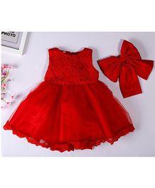 Aww Hunnie Bell Silhouette Dress - Red