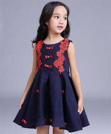 Aww Hunnie Box Pleat Dress With Lace - Navy Blue