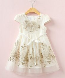 Aww Hunnie Cap Sleeve Semi Flare Dress With Embellished Work - White