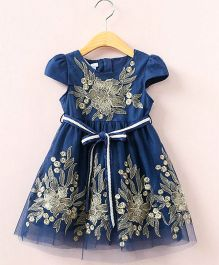 Aww Hunnie Cap Sleeve Semi Flare Dress With Embellished Work - Blue