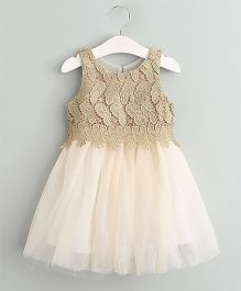 Aww Hunnie Semi Sequenced Flare Dress - Golden