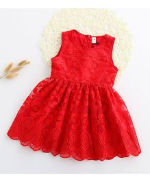 Aww Hunnie Fit & Flare Cut Work Lace Dress - Red