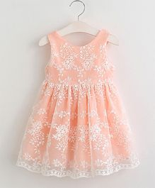 Aww Hunnie Semi Flare See Through Lace Dress - Pink