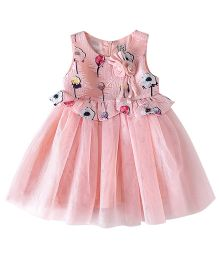 Aww Hunnie Floral Printed Flutter Bodice Dress - Pink