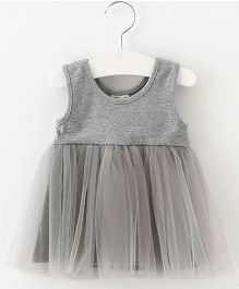 Aww Hunnie Fit & Flare Frill Dress - Grey