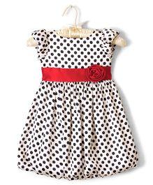 Nitallys Polka Dot Balloon Dress With Waist Band - White & Black
