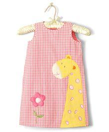Nitallys Gingham Mini Giraffe Patch Work Dress - Pink