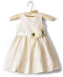 Nitallys Fit & Flare Cut Work Dress With Rose Applique - Cream