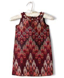 Nitallys Abstract Digital Printed Dress - Brown