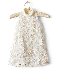 Nitallys Jewel Neck A-Line Lace Dress - Off White