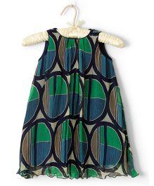 Nitallys Abstract Printed A-Line Dress - Blue