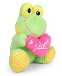 Starwalk Plush Green Frog With Pink Heart Soft Toy - 14 cm