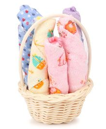 Adore Baby Wash Cloths With Basket Multicolor - 6 Pieces