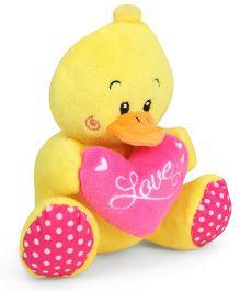 Starwalk Yellow Duck Plush With Pink Heart - 14 cm