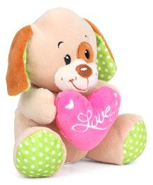 Starwalk Puppy Soft Toy With Heart Beige Pink - 14 cm