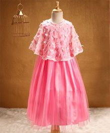 Babyhug Sleeveless Party Wear Frock With Poncho - Pink