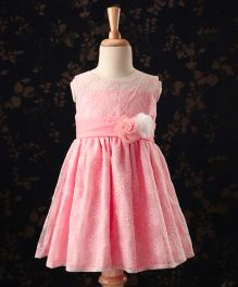 Babyhug Sleeveless Party Wear Frock Floral Applique - Pink