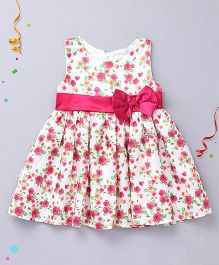 Babyhug Sleeveless Party Frock All Over Floral Print With Bow - White & Pink