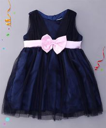 Babyhug Sleeveless Party Wear Frock With Bow Applique - Navy