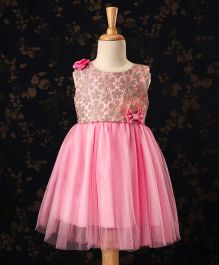 Babyhug Sleeveless Party Frock Bow & Floral Applique - Pink