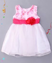 Babyhug Sleeveless Party Wear Frock - White Pink