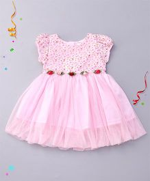 Babyhug Short Sleeves Party Wear Frock With Flower Applique - Pink
