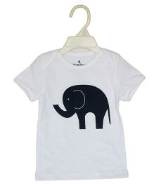 BumChum Half Sleeves T-Shirt Elephant Print - White