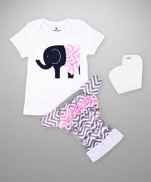 Bumchum Hybrid Diaper Cover & Washable Insert With Matching T-Shirt  Elsie - Grey Pink White