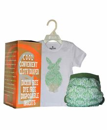 BumChum Diaper Cover With Waterproof Insert And T-Shirt Bonnie - White & Green